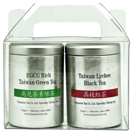 Подарочный набор из зелёного и чёрного чая в маленьких банках