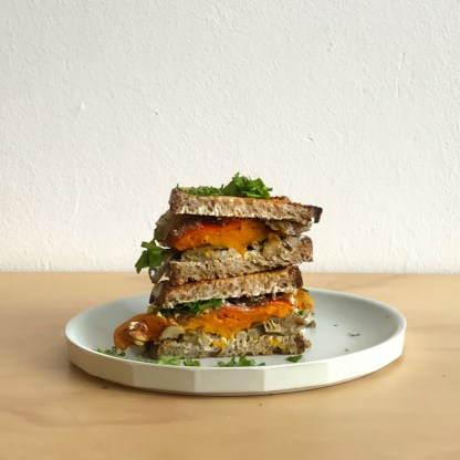 Pumpkin and mushrooms toast