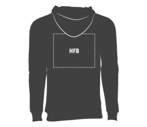 Back Hoodie: up to 14″W