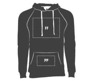 Front Hoodie: Chest/Pocket Standard size 12″ (Determined by space available)