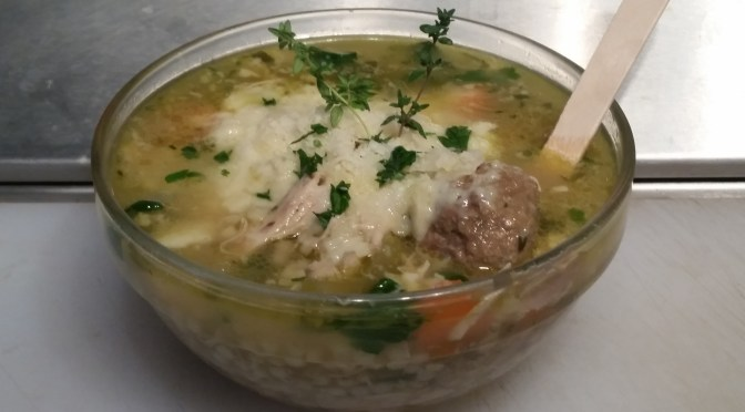 Italian Wedding Soup: comfort food supreme, chock full of chicken,* grass-fed beef meatballs, and local spinach, topped with Parmesan/pecorino blend.