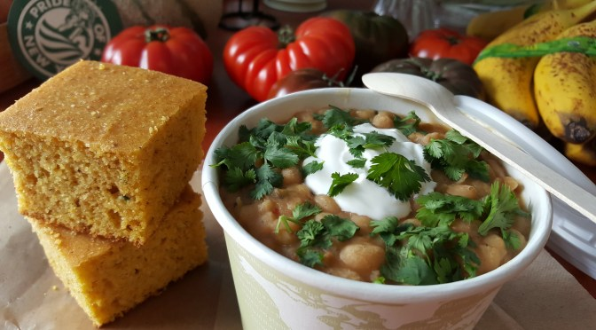 Vegetarian navy beans* and southern style cornbread,* with optional Lupo Italian chicken sausage.
