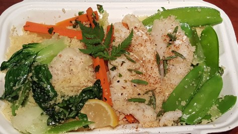 Sweet Chervil Braised Cod: Wild caught cod braised in local sweet chervil and almond milk,* with buttered cauliflower, cumin carrots, snow peas, and couscous.