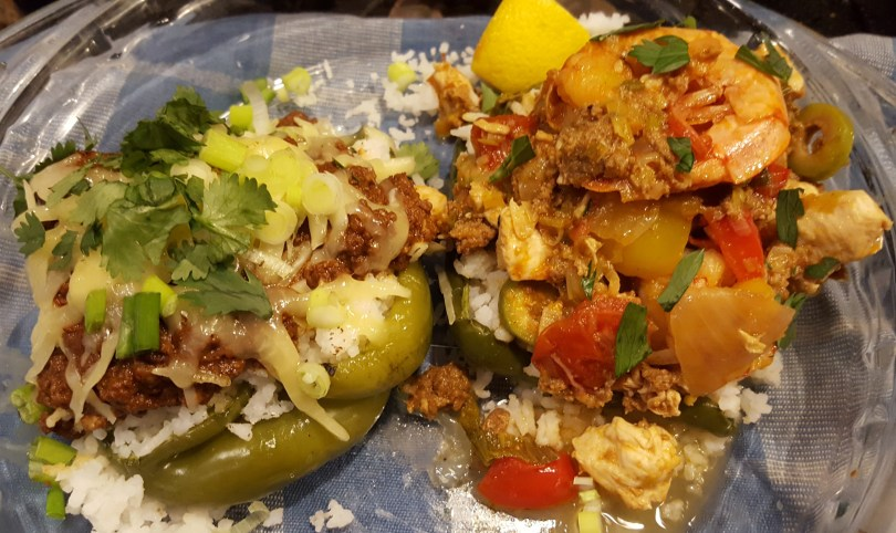 Local, grass-fed beef* Chili or Paella on Stuffed Amish Peppers with rice* and Palatine cheese