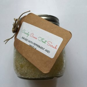 Weed oil infused Candy Cane Foot Scrub