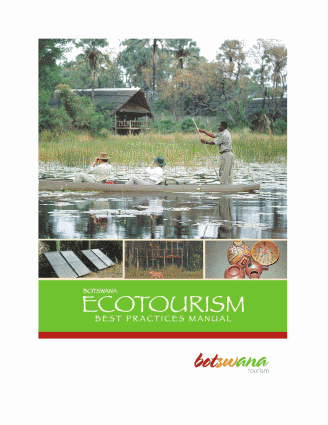 Botswana ecotourism best practices manual. sustainable tourism Botswana