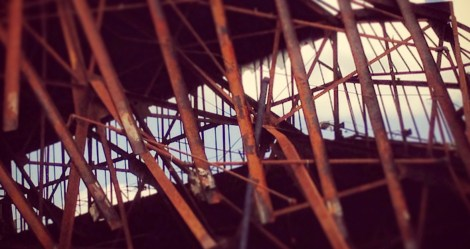collapsed (demolished?) building behind main street, ashland, ohio