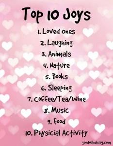 Top Ten Joys of Life