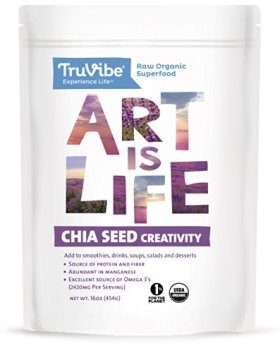 TruVibe 100% Organic Raw Chia Seeds, 1lb (16oz)