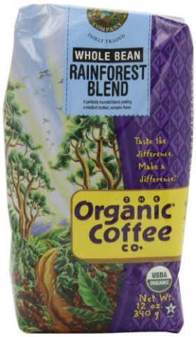 The Organic Coffee Company Whole Bean Rainforest Blend, 12-Ounce Bags (Pack of 2)