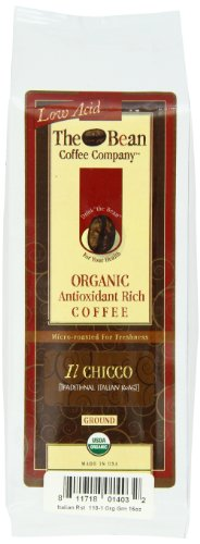 The Bean Coffee Company Il Chicco (Traditional Italian Roast), Organic Ground, 16-Ounce Bags (Pack of 2)