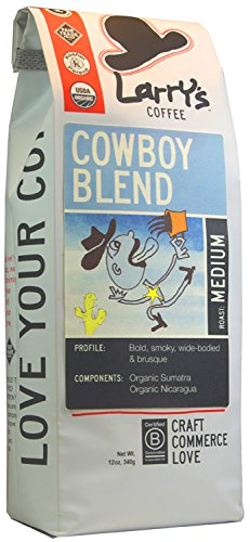 Larry's Beans Fair Trade Organic Coffee, Cowboy Blend, Whole Bean, 12-Ounce Bags (Pack of 3)