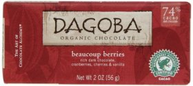 Dagoba Organic Chocolate Bar, Beaucoup Berries (Rich Dark, Cranberries, Cherries & Vanilla), 2-Ounce Bars (Pack of 6)