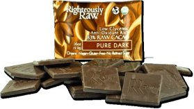 RIGHTEOUSLY RAW ORGANIC CHOCOLATE PURE DARK BITE SIZE, 16 -0.35 OUNCE