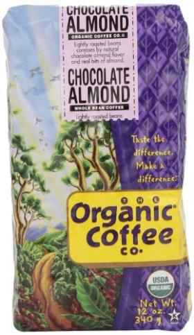 The Organic Coffee Co. Whole Bean, Chocolate Almond, 12 Ounce
