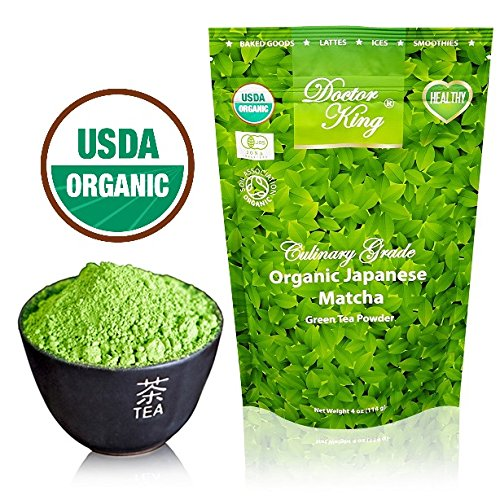 DOCTOR KING 100% ORGANIC JAPANESE MATCHA Green Tea Powder – Net Weight 4 oz (114 g) – MADE IN JAPAN