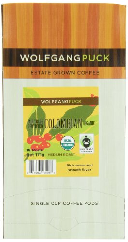 Wolfgang Puck Coffee, Fair Trade Colombian Organic, 18-Count Pods (Pack of 3)