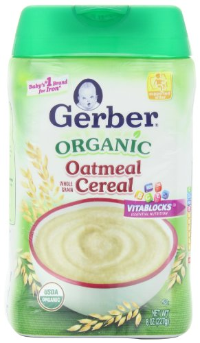 Gerber Organic Oatmeal Baby Cereal, 8 Ounce (Pack of 6)