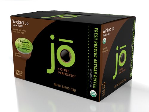 WICKED JO: 12 Single Serve Cups, SingleCup Jo is for Keurig K-Cup Type Brewers, Bold, Dark, Organic French Roast Coffee, Pure 100% Arabica Coffee, No Additives, USDA Certified Organic, NON-GMO, Gourmet Coffee from the Jo Coffee Collection
