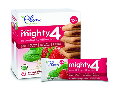 Plum Organics Mighty 4 Essential Nutrition Bars, Strawberry with Spinach, 0.67 Oz Bars, 6 Count (Pack of 8)