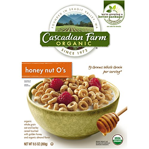 Cascadian Farm Organic Cereal, Honey Nut O's, 9.5 Oz