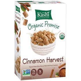 Kashi Organic Promise Cereal, Cinnamon Harvest Whole Wheat Biscuits, 16.3 Ounce Boxes (Pack of 4)