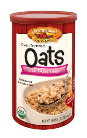 Country Choice Organic Oven Toasted Old Fashioned Oats, 18-Ounce Canisters (Pack of 6)