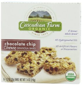 Cascadian Farm Organic Chewy Granola Bars, Chocolate Chip, 6 – 1.2 Ounce Bars (Pack of 6)