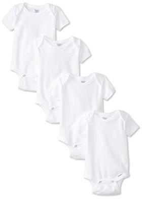 Gerber Unisex-Baby Newborn 4 Pack Organic Onesies Brand, White, 0-3 Months