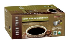 Caza Trail Coffee, Organic Extra Bold Medium Roast, 52 Single Serve Cups