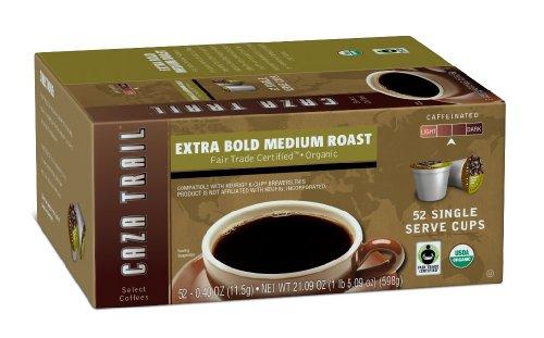 Caza Trail Coffee, Organic Extra Bold Medium Roast, 52 Single Serve Cups