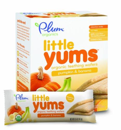 Plum Organics Little Yums Teething Wafers, Pumpkin Banana, 3 Ounce (Pack of 6)