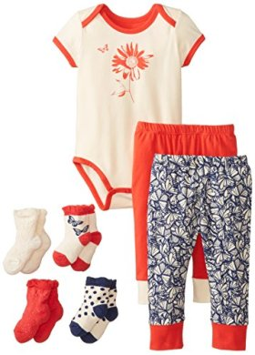 PACT Unisex-Baby Infant Organic Cotton Baby Watermelon Butterfly 3 Piece Set with Socks, Multi, 18-24 Months