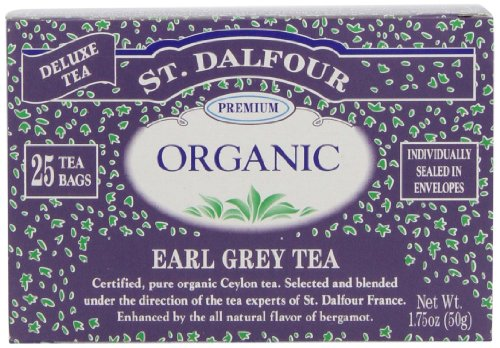 ST. DALFOUR Organic French Tea, Tea Bags, Earl Grey, 1.75-Ounce Bags, 25-Count Boxes (Pack of 6)