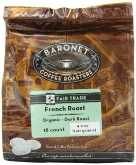 Baronet Coffee Fair Trade Organic French Roast Dark Roast (140 g), 18-Count Coffee Pods (Pack of 3)
