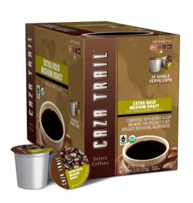 Caza Trail Coffee, Organic Extra Bold Medium Roast, 24 Single Serve Cups