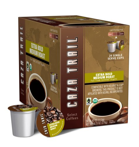 Caza Trail Coffee, Organic Extra Bold Medium Roast, 24 Single Serve Cups