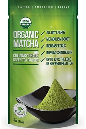 Kiss Me Organics – Matcha Green Tea Powder – ORGANIC – All Day Energy – Green Tea Lattes – Smoothies – Baking – Improved Hair & Skin Health- Metabolism Boost – Antioxidant Rich – Now From Japan!