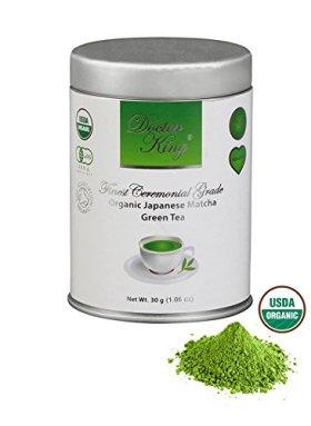 DOCTOR KING 100% Finest Ceremonial Grade Organic Japanese Matcha Green Tea – Top Grade: Ceremonial Grade A – Net Weight 1.06 oz (Premium, Top Quality, Grade A, First Harvest Matcha).