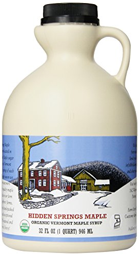 Hidden Springs Maple Vermont Maple Syrup, Quart Grade A Medium Organic, 32 Ounce