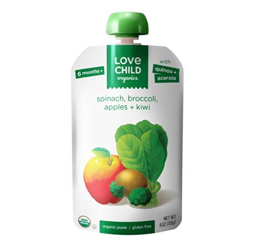 Love Child Organics Super Blends Purees – Spinach, Broccoli, Kiwi & Apples – 4 oz – 12 pk