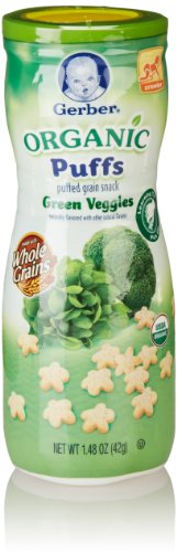 Gerber Organic Puffs Cereal Snack, Green Veggies, 1.48 Ounce