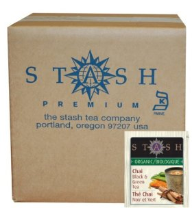 Stash Tea Organic Black and Green Tea Bags in Foil, Chai Spice, 100 Count