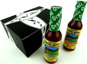 Arizona Pepper's Organic Harvest Foods Gluten Free Sauces 2-Flavor Variety: One 5 oz Bottle Each of Jalapeño Pepper Sauce and Habanero Pepper Sauce in a Gift Box