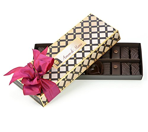 Amore di Mona Connoisseur Collection Dark Chocolate & Caramela Gift Box: 9 Oz Premium Assortment. Vegan, Non-gmo, Free of Gluten, Peanuts, Tree Nuts, Milk, & Soy. Low Glycemic & Allergy Friendly