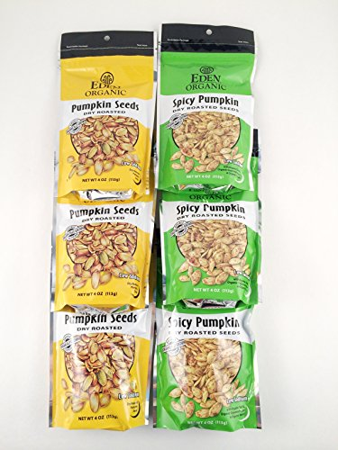 Eden Organic Dry Roasted Pumpkin Seed Sampler – Six 4 Oz. Pouches