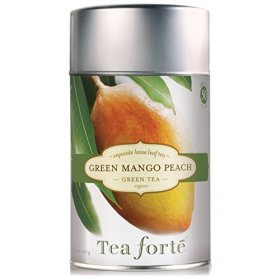 Tea Forte GREEN MANGO PEACH Organic Loose Leaf Green Tea, 3.5 Ounce Tea Tin