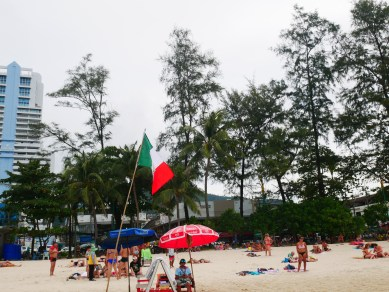 The Mexico flag waving on the shores in Thailand