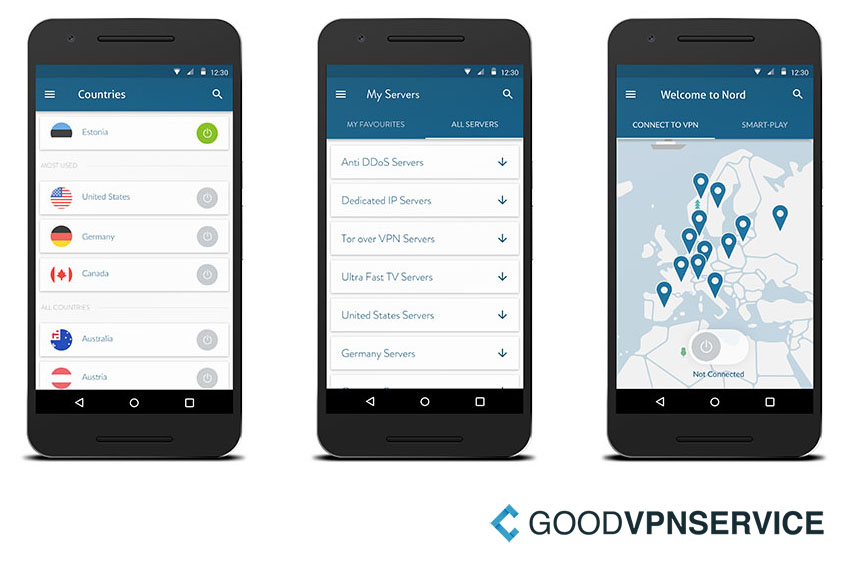 NordVPN mobiele screenshots