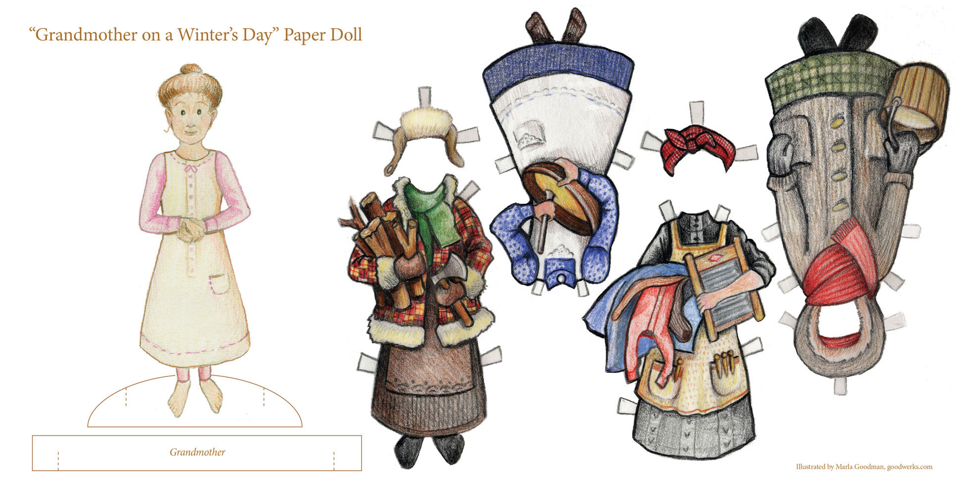 Grandmother On A Winters Day Free Paperdoll Goodwerks